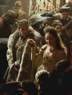 Henry VIII (Jonathan Rhys Meyers)  Catherine Howard (Tamzin Merchant) 'The Tudors' 2007-10. Costumes designed by Joan Bergin.
