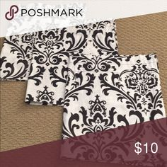 """Three 100% cotton valances each measuring 52"""". Three valances in sophisticated black and white damask pattern. Each valance is 52"""" wide and has a 1 1/2"""" pocket for a rod to hang Other"""