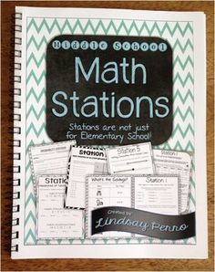 Hard Copy Edition!  Stations are not just for Elementary School! Middle school students thrive when given the chance to work together and move about the classroom!  The 7 stations in this resource are: Middle School Math Review Stations Probability Stations Lesson Plan Data Displays Stations Writing Linear Equations Stations Graphing Linear Equations Stations Inequalities Stations Percents Stations
