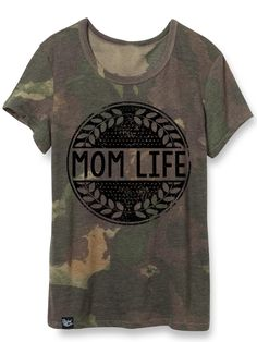 """Slyfox Threads """"Mom Life"""" circle design tshirt in camo. Made in soft Eco-Jersey in our best prints, this lightweight crew neck tee is a simple, everyday bas Camo Outfits, Camo Shirts, Circle Design, Refashion, What To Wear, T Shirts For Women, Mom, Mini Coopers, Mens Tops"""