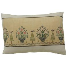 19th Century Turkish Embroidery Lumbar Pillow. | From a unique collection of antique and modern pillows and throws at https://www.1stdibs.com/furniture/more-furniture-collectibles/pillows-throws/