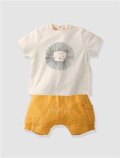 Conjunto T-shirt + calções, para bebé menino AMARELO CLARO LISO COM MOTIVO+BRANCO CLARO LISO COM MOTIVO