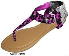 Womens Flocked Gladiator Animal Print Sandals w/Caged Heel Cap 6 Colors