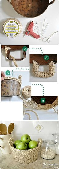 DIY~ Cover a container in rope, Twine or jute~