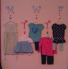 Hooks in HB's room to set out her outfits of the week. Came up with this after one tto many days of mismatched outfits so she can at leasy match when Daddy dresses her!
