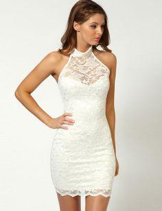 Amazing White Lace Sexy Style Halter Sleeveless Sheath Mini Party Dresses