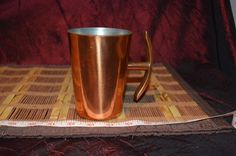 """Solid Copper Mug Cup w/ Anchor Shaped Handle Made In South Africa 4 3/4""""x4 3/4"""""""