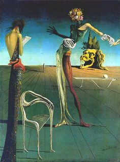 Salvador Dali. His works are like no other.  Crazy depictions of the bizarre mind.  Love the chair.