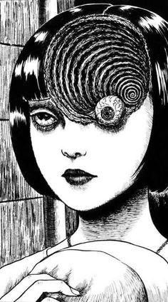 Junji Ito (1963) Dibujante japonés de cómic manga horror. Tomie, Uzumaki y Gyo, son sus obras más conocidas. Japanese Horror, Japanese Art, Arte Horror, Horror Art, Illustrations, Illustration Art, Migraine Art, Migraine Headache, Chronic Migraines