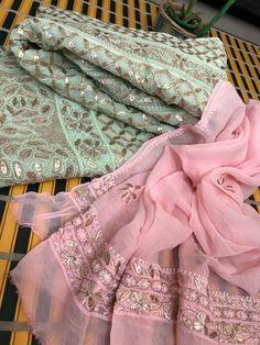 Sea Green And Pink Viscose Georgette Gota Patti Chikankari Anarkali Suit (Anarkali And Dupatta) Alia Bhatt Photoshoot, Hand Embroidery Videos, Ceremony Dresses, Pink Suit, Anarkali, Lehenga Choli, Sarees, Different Dresses, Indian Designer Outfits