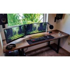 Two giant ass monitors on an IKEA counter top screwed onto a cheap desk base Setup Desk, Diy Computer Desk, Computer Desk Setup, Gaming Room Setup, Pc Desk, Home Office Setup, Pc Setup, Home Office Design, Office Style