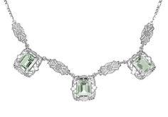 Art Deco Filigree Prasiolite ( Green Amethyst ) 3 Drop Necklace in Sterling Silver $225.00 http://www.antiquejewelrymall.com/n140ga.html