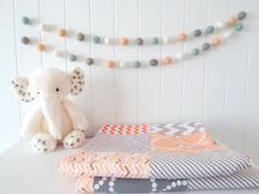 Peach And Mint Garland C Nursery Felt Ball Baby Decor