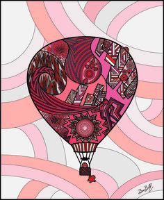 Ilustração Balão. Feito no estilo Grafidoodle, misturando grafite e doodle.