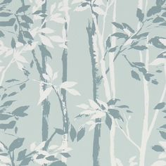 Beechgrove (214571) - Sanderson Wallpapers - A forest of bamboos, painted in a loose style and rotary printed for depth of colour. Shown in the duck egg blue and chalk colourway. Please request samples for true colour match. Pattern repeat 64cm.