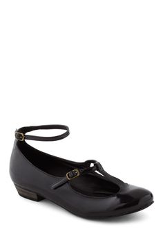Miss Mary Flat - Black, Solid, Casual, Vintage Inspired, 90s, Low, Faux Leather