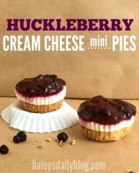 Huckleberry Cream Cheese Mini Pies are the perfect dessert your family will love. A delicious pecan shortbread crust topped with huckleberries or your favorite berry!