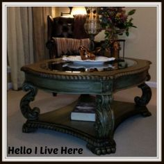 """Chalk paint and dark brown wax to antique turn a coffee table into fabulous. HomeTalk by """"Hello I Live Here""""Upcycled Coffee Table"""