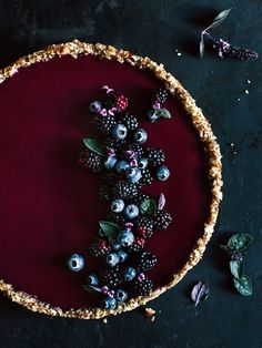 Dark Berries Tart with Basil