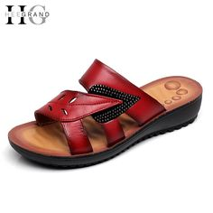 16.99$  Watch now - http://alioe8.shopchina.info/go.php?t=32793086102 - HEE GRAND Leather Wedges Sandals 2017 New Platform Shoes Woman Casual Slippers Glitters Flip Flops Women Shoes Creepers XWZ3674 16.99$ #magazine