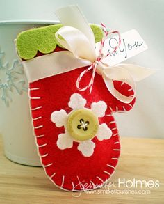 Simple Flourishes: 12 Days of Christmas Waltzingmouse Style ~ Christmas mitten for impromptu giving Felt Christmas Ornaments, Noel Christmas, 12 Days Of Christmas, Winter Christmas, Handmade Christmas, Christmas Decorations, Christmas Projects, Felt Crafts, Holiday Crafts