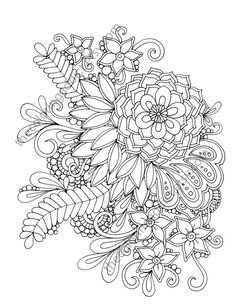 floral coloring page, adult coloring page, digital flower drawing, henna floral coloring, botanical Flower Henna, My Flower, Free Coloring Pages, Coloring Books, Flower Coloring Sheets, Colorful Flowers, Adult Coloring, Soldering, Drawings