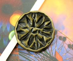 Metal Buttons   Unique Copper ButtonsWith Daisy Fossil by Lyanwood, $7.00
