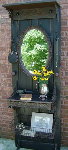Repurpose an old door into a hall tree!