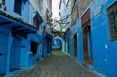 Chefchaouen Morocco..Wander through the powder blue streets of Chefchaouen, Morocco. Story has it that the blue walls that climb up halfway on all of the white-washed buildings is to keep mosquitoes and flies from bothering people. Other stories recall the city's early Jewish influence which resulted in the colorful walls. Whether or not these are true, it still makes for one heck of a gorgeous place to explore.