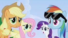 Applejack, Fluttershy, Rarity and Rainbow Dash shocked