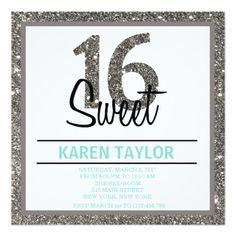 Silver Glitter Sweet 16 Custom Invitation Announcement