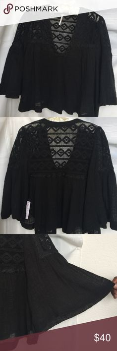 """Free People Lace Tunic  with 3/4 Bell Sleeves 100% Cotton ~ embroidery surrounds v-neckline ~ crocheted back and shoulders~ soft swing style top ~ Top length 21"""" ~ new with tag Free People Tops Tunics"""