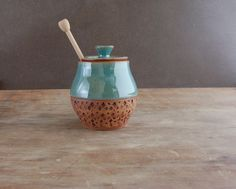 Honey Pot, Ceramic Honey Jar with Dipper in Turquoise by JenniferBurkePottery on Etsy https://www.etsy.com/listing/260921513/honey-pot-ceramic-honey-jar-with-dipper