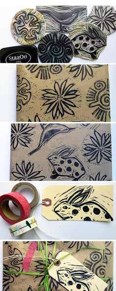 JaneVille: Keeping it simple ~ hand carved stamps and gift wrap