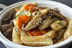 Domestic Goddess Wannabe: gungjung tteokbokki - korean stir-fried rice cake with beef and vegetables