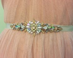 Iridescent Blush, Rose Gold, Opal, Ivory Crystal and Pearl Vintage Inspired Jewel Embellished Satin Ribbon Bridesmaids Bridal Belt Sash