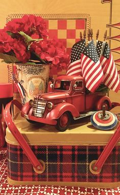 Vintage Trucks Vintage plaid tin picnic basket with red truck filled with flags for fun Fourth of July patriotic decor Fourth Of July Decor, 4th Of July Decorations, 4th Of July Party, July 4th, Holiday Decorations, House Decorations, Patriotic Crafts, July Crafts, Patriotic Quilts