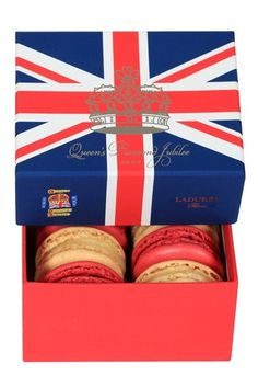 Ladurée Jubilee Macarons.  Very topical; just released June 1, 2012. [Photo only at click through, but info about it here: http://www.vanityfair.com/online/beauty/2012/06/All-Hail-the-Queen-with-Laduree ]