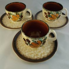 RARE Boch la loviere Corfou Set of 3 Cups and by RCVintageNKitsch