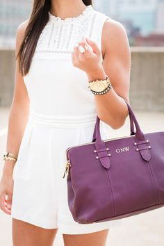 lace white romper and monogram satchel // a southern drawl
