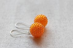 Mandarin Orange Iridescent  Earrings Beaded Beads Beadwork