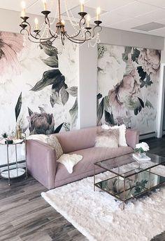 modern glam interior design featuring blush pink velvet sofa, glam chandelier and floral wallpaper designed by Alisa Bovino Living Room Designs, Living Room Decor, Bedroom Decor, Glam Living Room, Spa Like Living Room Ideas, Sofa In Bedroom, Blush Pink Living Room, Spa Room Decor, Cozy Bedroom