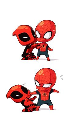 Suddenly I'm really into Spider-man and spent a whole weekend reading comics oh god. I like when Deadpool is around too. Spider-man and Deadpool Deadpool X Spiderman, Deadpool Chibi, All Spiderman, Batman, Dead Pool, Heros Comics, Marvel Dc Comics, Spideypool, Superfamily