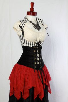 White and Black Stripe Cropped Vixen Corset with Basic Black Under Bust Corset and Red Lace Pointy Overskirt by Damsel in this Dress