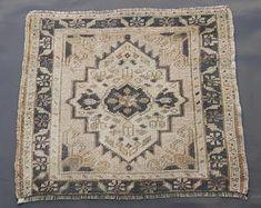 Turkish Oushak Rug,Vintage Rug,Oushak Rug,Wool Rug,Knotted Rug,Mat Rug,Doormat Rug,Entryway Rug,Area Rug,Small Rug,1'7×1'9 ft-51×58 cm