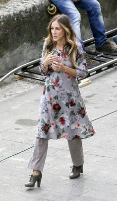 Sarah Jessica Parker Brings Back the '90s Dress-over-Pants Look for more fashion and beauty advise check out The London Lifestylist http://www.thelondonlifestylist.com