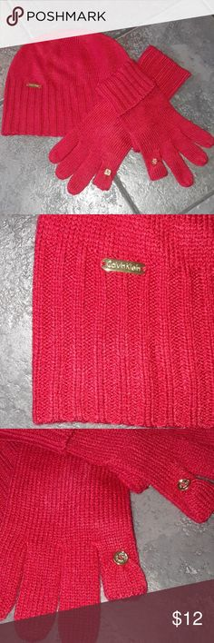 Calvin Klein Matching Red Hat  Fingerless Gloves SMOKE FREE and Clean home! Bundle up to 5lbs to get the most from your buck!  Woman's 3 piece matching winter set. Bold beautiful red, New without tags. Perfect condition, no flaws.  Pointer and thumb fingers open with a button for easy access to your cell phone. Cuff or leave open the end of gloves. 100% Acrylic Only worn once to take these pictures.  Check out my closet for other items: Gap Abercrombie and Fitch Under Armour Elle Disney…