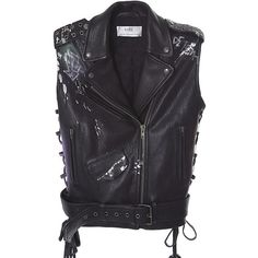 FAITH CONNEXION Bubble-graffiti painted leather motorcycle vest ($1,499) ❤ liked on Polyvore featuring outerwear, vests, vest, black, leather vest, leather motorcycle vest, leather waistcoat, leather bubble vest and leather tie belt