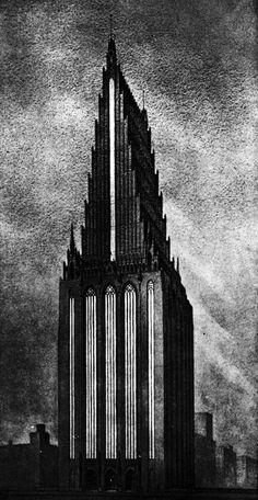 Einar Sjostrom and Jarl Eklund, Entry to the Chicago Tribune Tower Competition, 1922