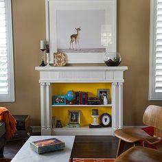 Old fireplace mantle turned bookshelf. Fireplace Bookshelves, Fake Fireplace, Unused Fireplace, Fireplace Ideas, Fireplace Seating, Fireplace Kitchen, Fireplace Cover, Fireplace Mirror, Concrete Fireplace